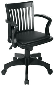Bankers Chair Classic Black Wood Open Slatted Back Adjust Height Glide Wheels