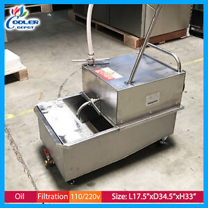 55 Lbs Portable Fryer Oil Filter Cart Machine Commercial Filtration System New