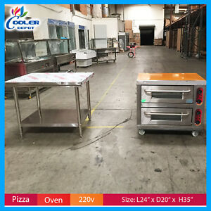 Double Pizza Oven Electric Bakery Stainless table 220v Commercial Cooler Depot