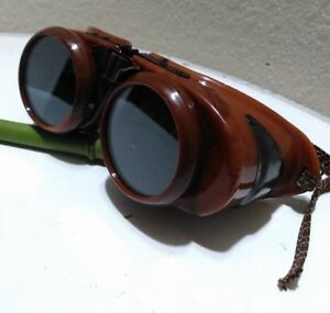 Vintage Welsh Goggles Welding Glasses Steampunk Aviator Motorcycle Two Lenses