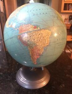 Vintage Peerless Weber Costello Co 12 Inch World Globe Metal Base And Sphere