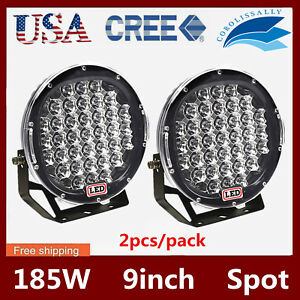 2x 9inch 185w Cree Led Work Light Fog Driving Truck Lamp Spot Bumper Blk Pk Hid
