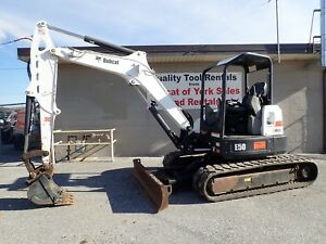 2015 Bobcat E50 Mini Excavator X change Coupler 49 Hp Kubota Diesel 2 Speed