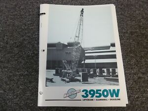Manitowoc 3950w Crawler Crane Specifications Lifting Capacities Manual