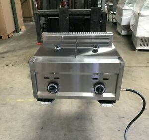 7 Gallon Double Deep Fryer Propane Gas Commercial Countertop Kitchen Home New