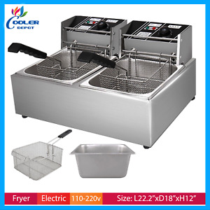 5 Gallon Electric Double Deep Fryer Counter Top Commercial Grade Cooler Depot
