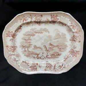 1835 Ass Lion And Cock Staffordshire Brown Platter Aesop S Fables