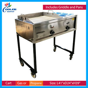 41 2 Burner Taco Grill Griddle Cart Asada Burger Pollo Cooler Depot New