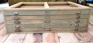 Vintage 5 Drawer Flat File Wood Drafting Cabinet Union Chippy Coffee Table