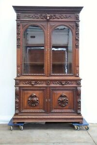 Large Antique French Oak Renaissance Hunt Bookcase Cabinet Carved Dog Heads