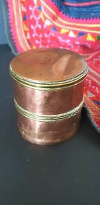 Old Brass Copper Round Container Beautiful Collection Display Piece