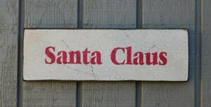 Primitive Style Vintage Wood Sign Or Shelf Sitter Reproduction Santa Claus