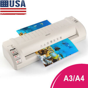 220v A3 a4 Photo Laminator Hot Roller Home Office Document Laminating Machine Us
