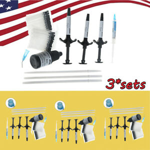 Usa 3 Dental Bonding Metal Bracket Light Cure Curing Adhesive Set With Brushes