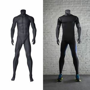 Male Headless Sports Athletic Mannequin Matte Grey Fiberglass W Base