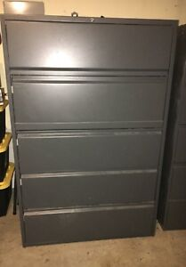 42 5 Drawer Lateral File Cabinet Dark Grey Excellent Condition