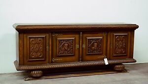 Antique French Spanish Tudor Style Carved Sideboard Buffet Cabinet 8 Wide