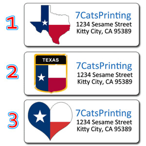 30 Texas State Flag Colors Personalized Return Address Labels
