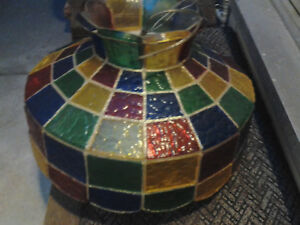 Mid Century Faux Stained Glass Hanging Lamp