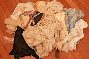 Lot Of Antique Lace Trim Dainty French Nos Yardage Applique Victorian Clothing