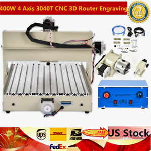 400w 4 Axis 3040t Cnc 3d Router Engraving Milling Machine 110v 320 530mm Usb Ups