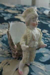 Antique French Late 1800 S Bisque Porcelain Small Boy Cart Figurine