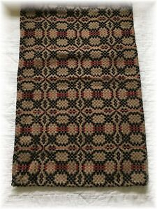 Primitive Style Woven Runner Red Black Tan Farmhouse 16 X 56 Coverlet Table