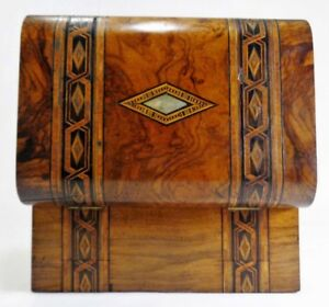 Early Mid 19th C English Regency Inlaid Burled Walnut Traveling Writing Box