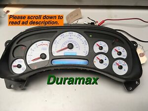 03 04 Chevy Duramax Speedometer Cluster Refurbished Leds