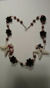 50 Acorn Star Snowmen Garland Primitive Handmade Early Look Country Home