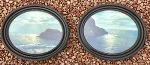 Large Pair Antique Oval Ornate Bakelite Frames Of Moonlighted Sea Coast Glass