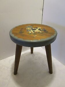 Vintage Wood Milking Stool Footstool Hand Painted Cow Country Signed 11 Chic