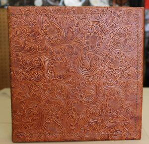 Chestnut Saddle Tan Western Floral Cowhide Leather 2 3 Ring Binder