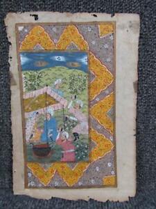 Antique 18c Anglo Indian Mughul Hand Painted Manuscript Book Page Painting