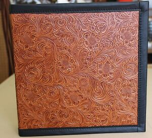 Chestnut Saddle Tan Western Floral Cowhide Leather 3 Ring Binder Black Trim