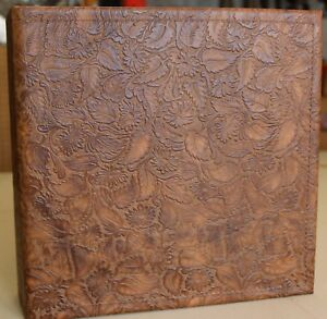 Light Chocolate Western Floral Cowhide Leather 3 Ring Binder