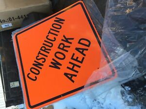 4 Construction Ahead Signs 30 X 30 High Intensity Prismatic Lot Of 4 New