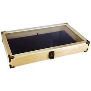 Mooca Wood Tempered Glass Oak Jewelry Display Case With Velvet Padding And