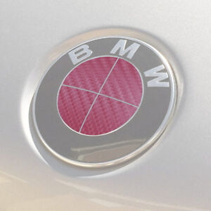 Bmw Emblem Logo Overlay Decal Roundels For 3 25 Emblems pink Carbon Fiber