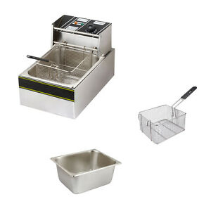 6l Electric Countertop Deep Fryer Commercial Basket French Fry Restaurant Fryers