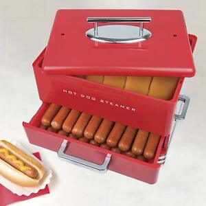 Hot Dog Steamer With Bun Warmer Lid Retro Red Hotdog Cooker Vintage Machine