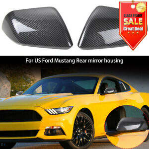 2x Carbon Fiber Rear View Mirror Cover Shell Housing Trim For Ford Mustang 2015