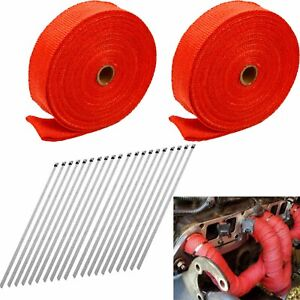 2 Roll X 2 50ft Red Fiberglass Exhaust Header Pipe Heat Wrap Tape 20 Ties Kit