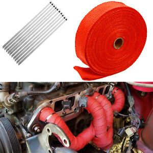 2 X 50ft 10 Ties Exhaust Manifold Tred Heat Wrap Tape High Heat Fiberglass