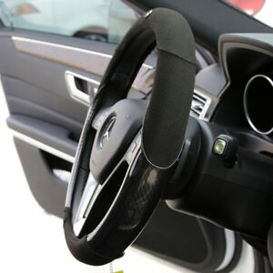 New Black 14 5 15 Dia Suede Carbon Fiber Steering Wheel Cover Circle Cool 7474