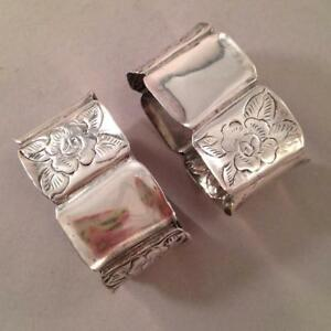 2 Mexican Sterling Napkin Rings Rose Motif