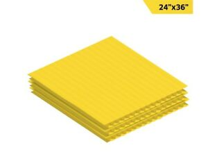 Adiroffice Yellow Corrugated Plastic Sheet 24 X 36 Pack Of 24