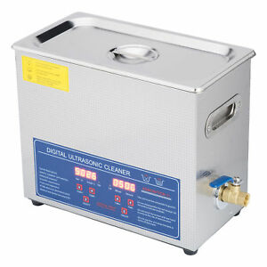 New 6 Ultrasonic Cleaner Stainless Steel Industry Heated Heater W timer New