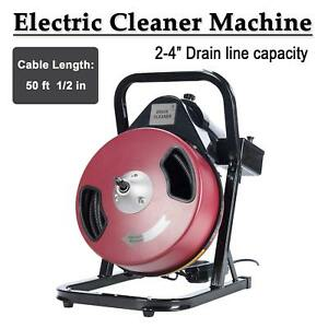Heavy Duty 1 2 Inch By 50 Feet Electric Drain Cleaner Drum Auger Snake