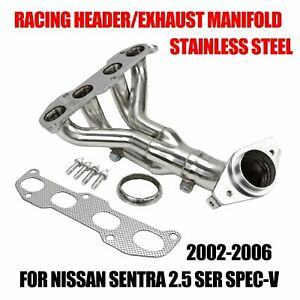 For 02 06 Nissan Sentra 2 5 Ser Spec V Stainless Racing Header Exhaust Manifold